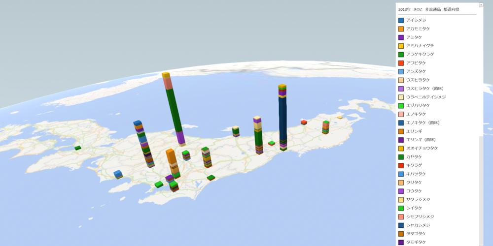 きのこ(非流通品)の放射能検査地図(県別)