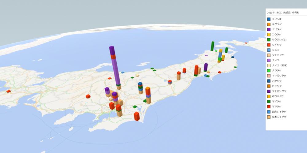 きのこ(流通品)の放射能検査地図(市町村別)