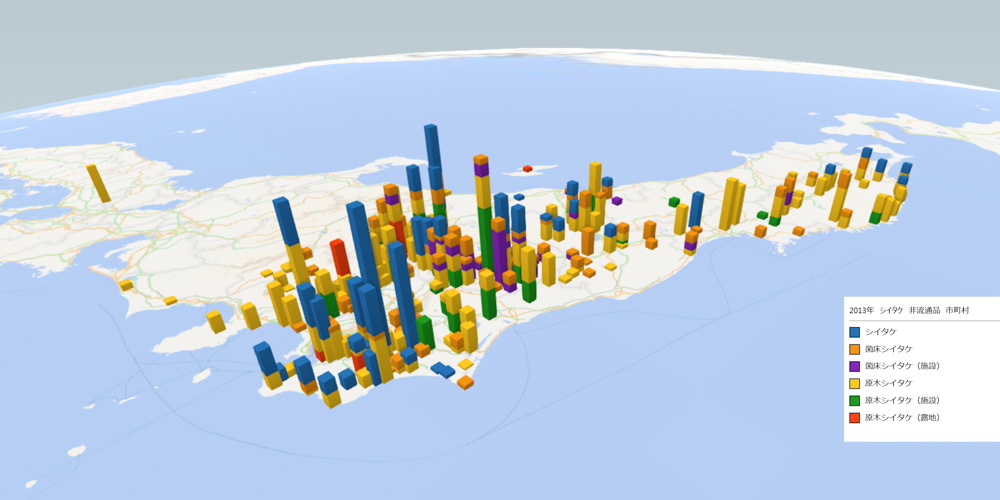 シイタケ(非流通品)の放射能検査地図(市町村別)