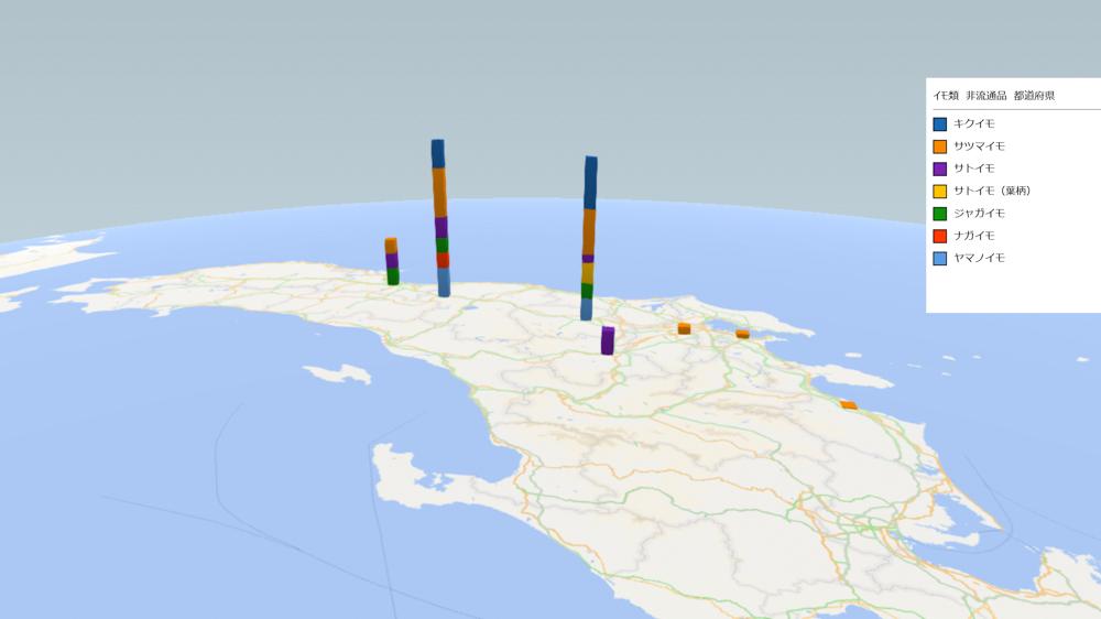 イモ類(非流通品)の放射能検査地図(県別)