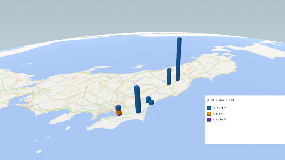 イモ類(流通品)の放射能検査地図(市町村別)