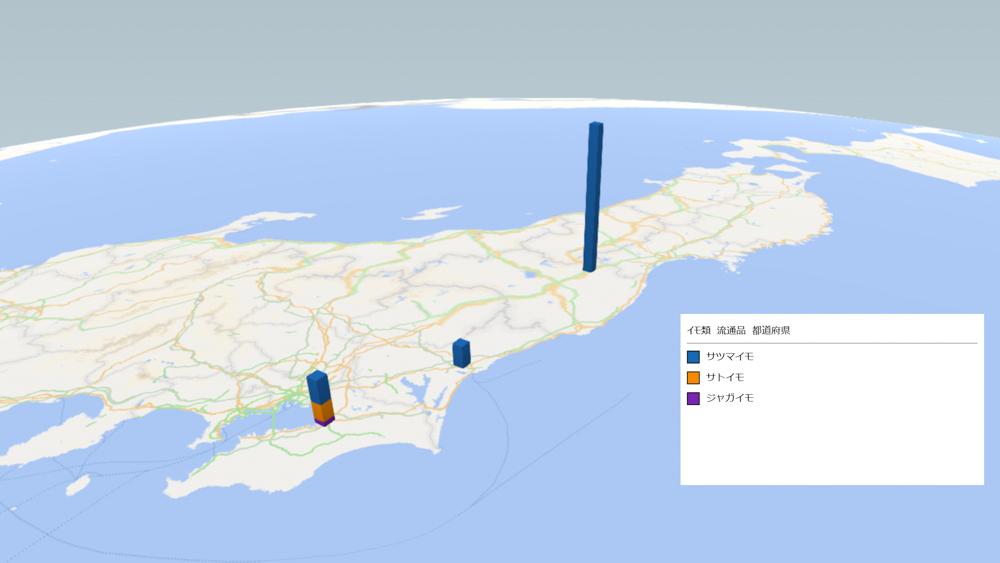 イモ類(流通品)の放射能検査地図(県別)