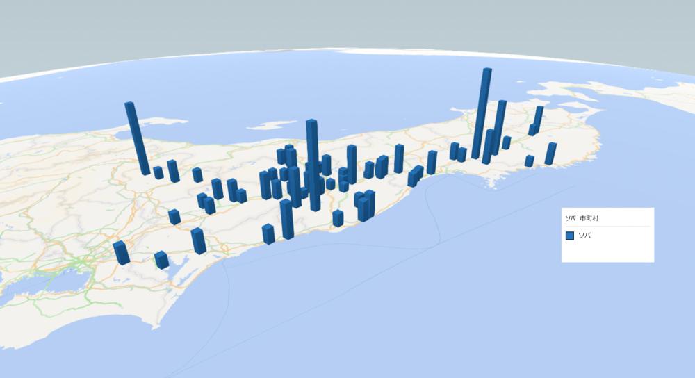ソバの放射能検査地図(市町村別)