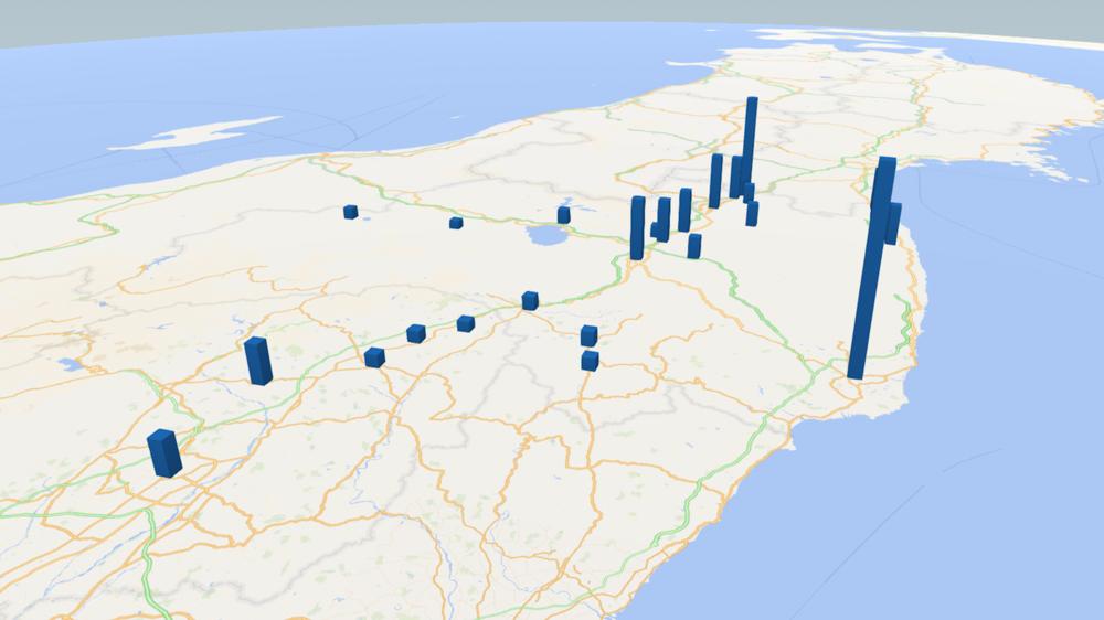 小豆の放射能検査地図(市町村別)