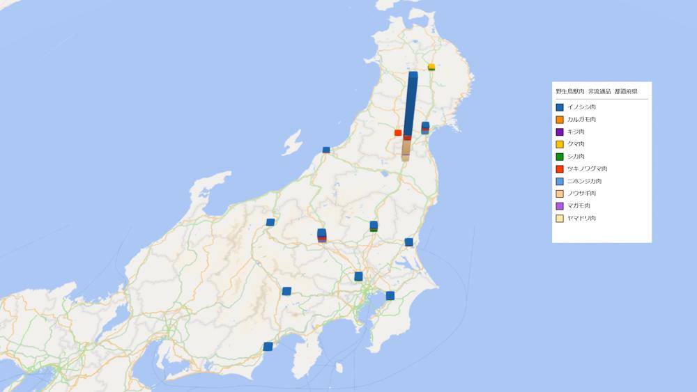 野生鳥獣肉(非流通品)の放射能検査地図(県別)