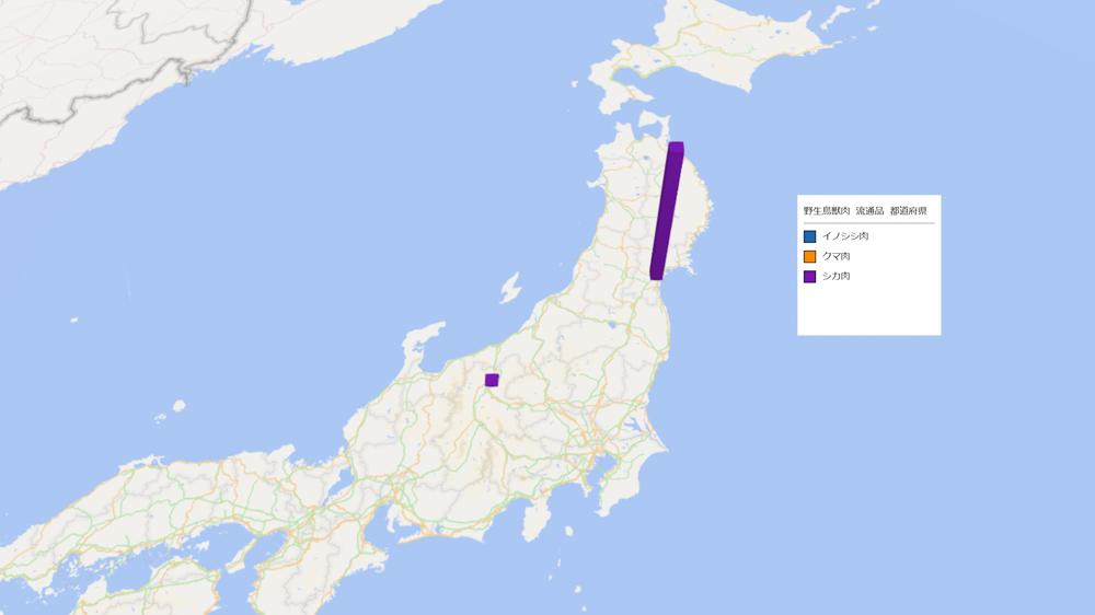 野生鳥獣肉(流通品)の放射能検査地図(県別)