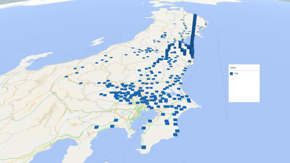 水田の放射能検査地図(市町村別)