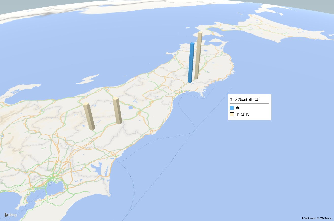 お米(非流通品)の放射能検査地図(市町村別)