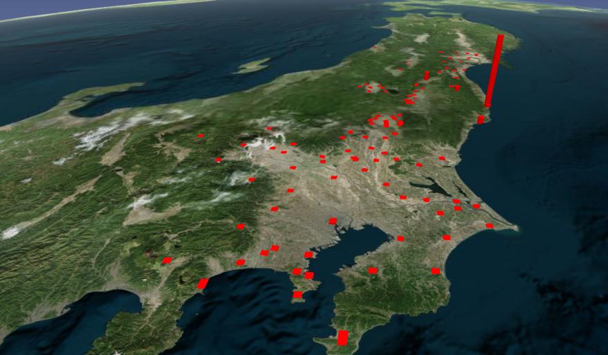 放射性ヨウ素の汚染地図