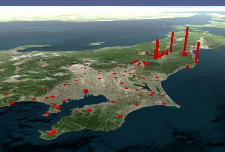 日本地図のセシウム