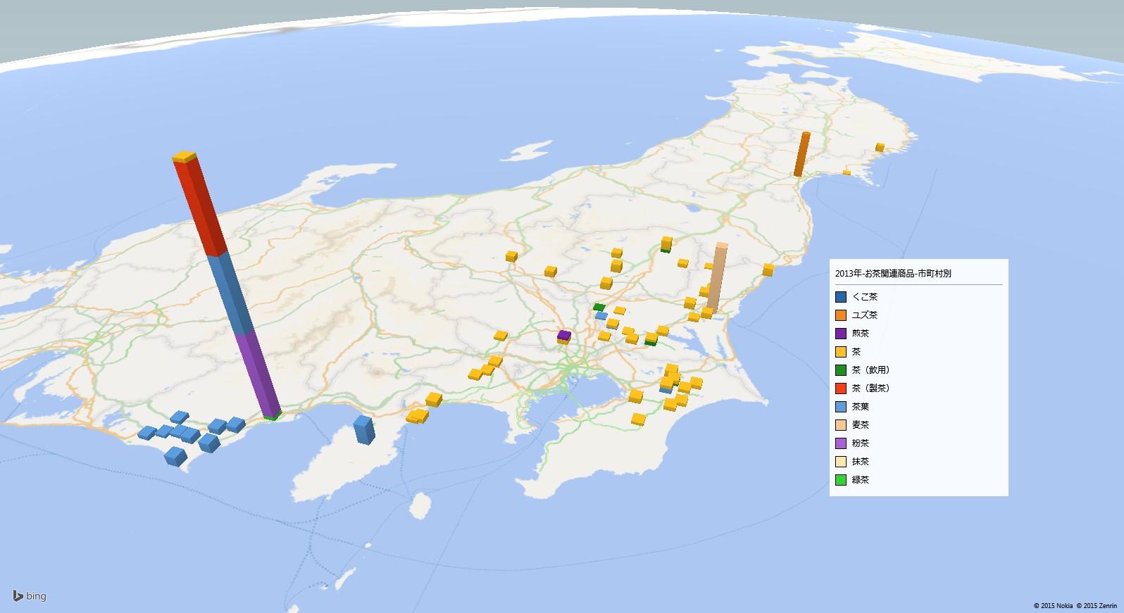 お茶の放射能検査地図(市町村別)