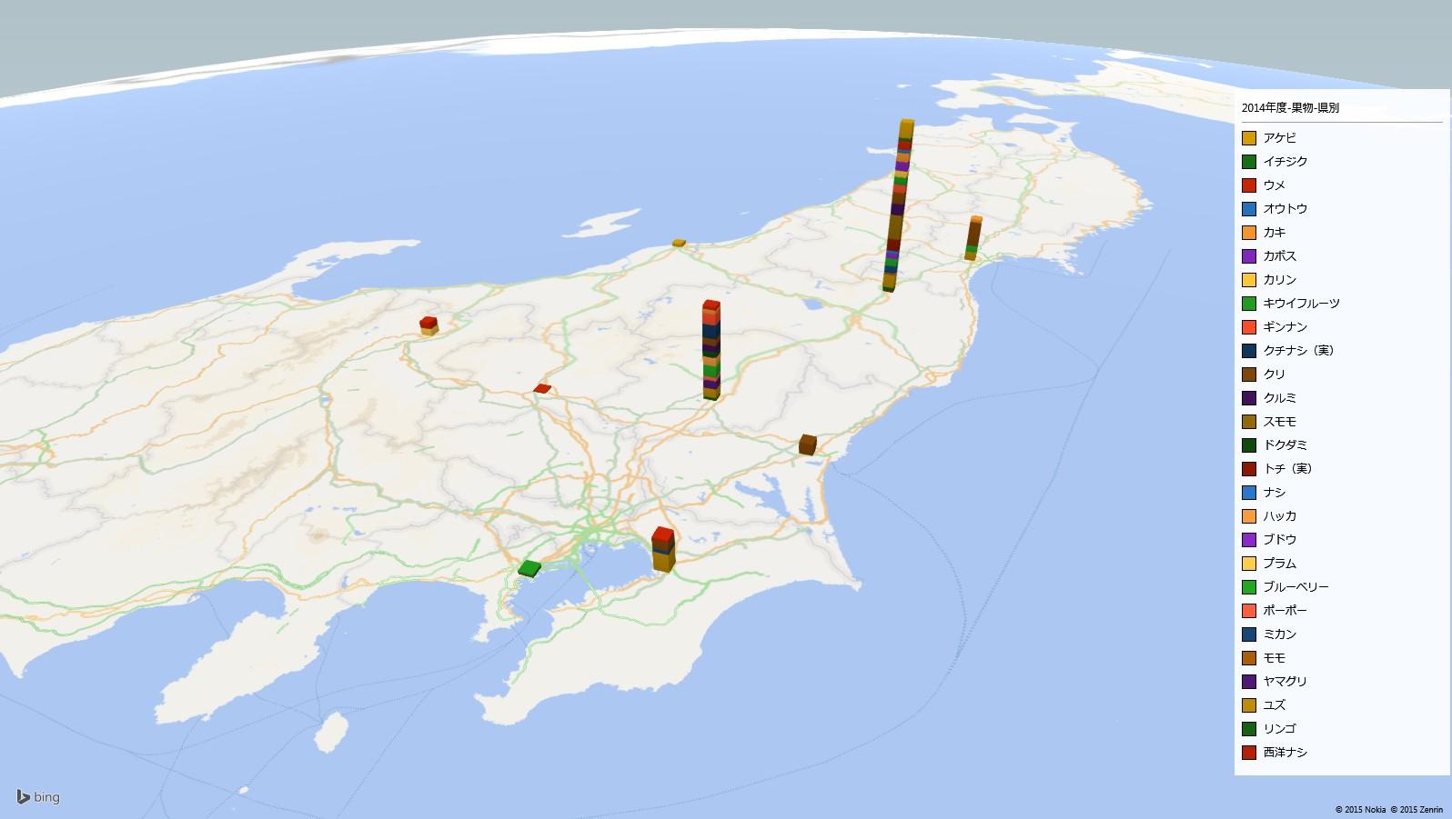 果物の放射能検査地図(市町村別)