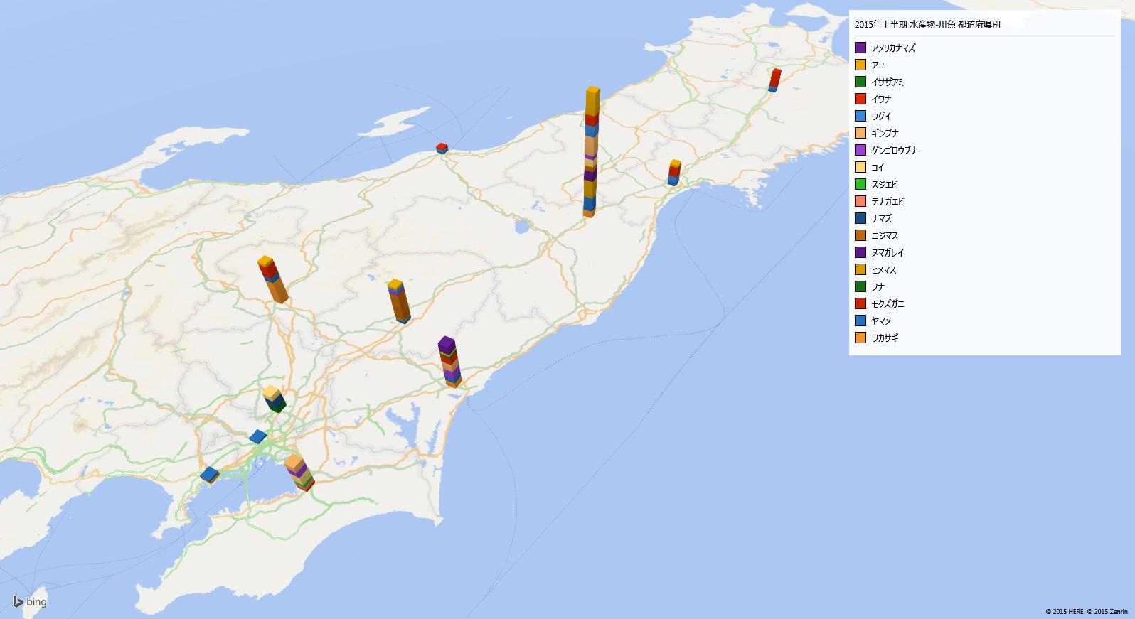 川魚の放射能検査地図(都道府県別)
