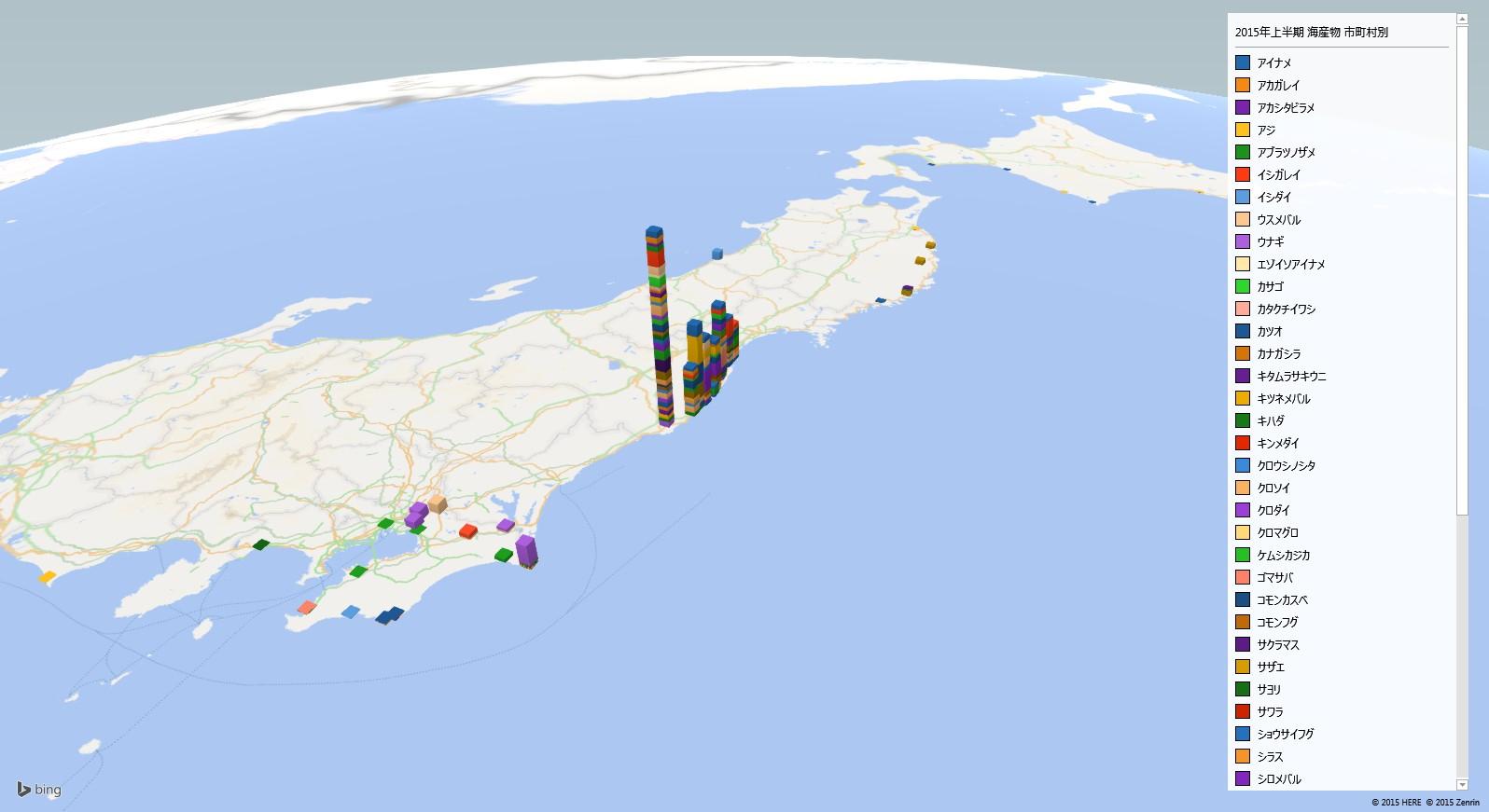 海の魚の放射能検査地図(市町村別)