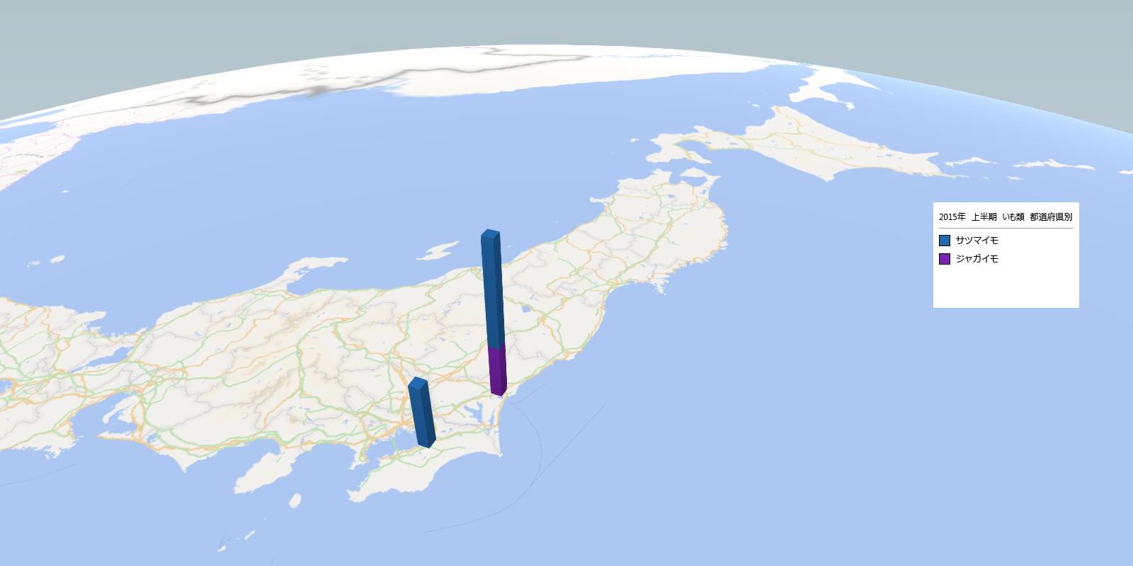 イモ類の放射能検査地図(都道府県別)