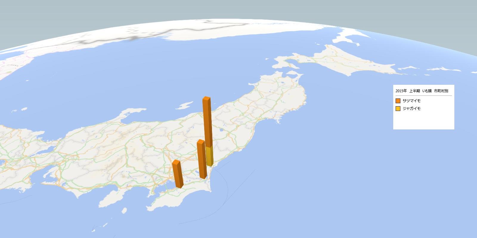 イモ類の放射能検査地図(市町村別)