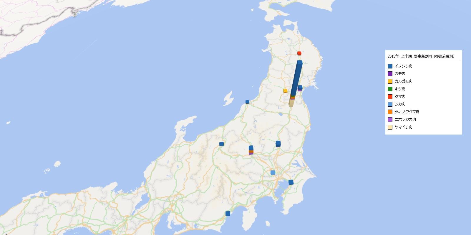 野生鳥獣肉類の放射能検査地図(都道府県別)