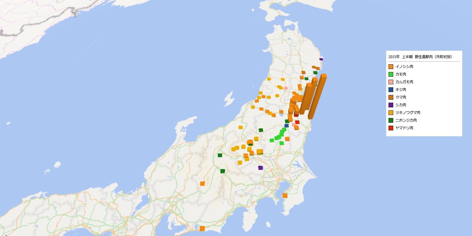 野生鳥獣肉類の放射能検査地図(市町村別)
