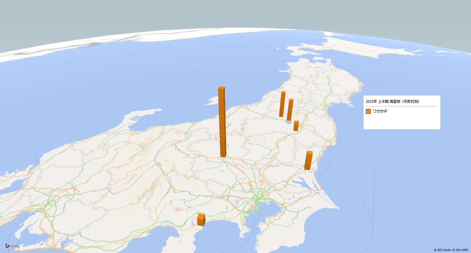 ワカサギ類の放射能検査地図(市町村別)
