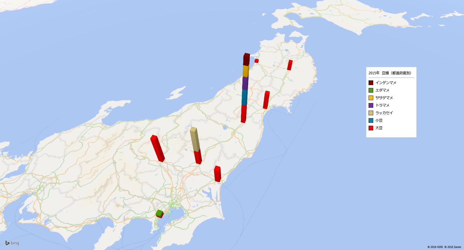 豆類の放射能検査地図(都道府県別)