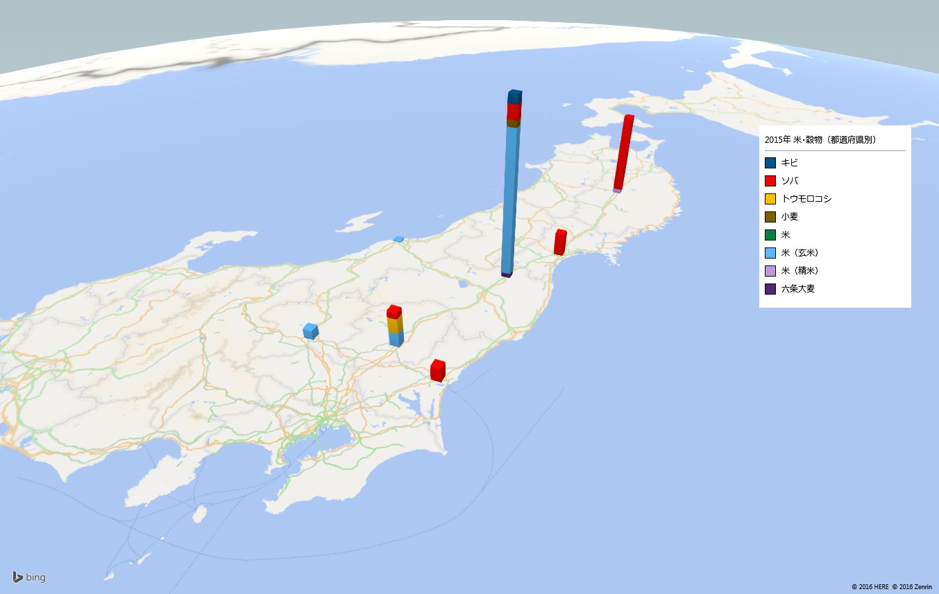 お米及び穀物類の放射能検査地図(都道府県別)
