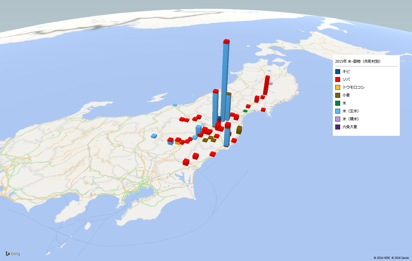 お米及び穀物類の放射能検査地図(市町村別)