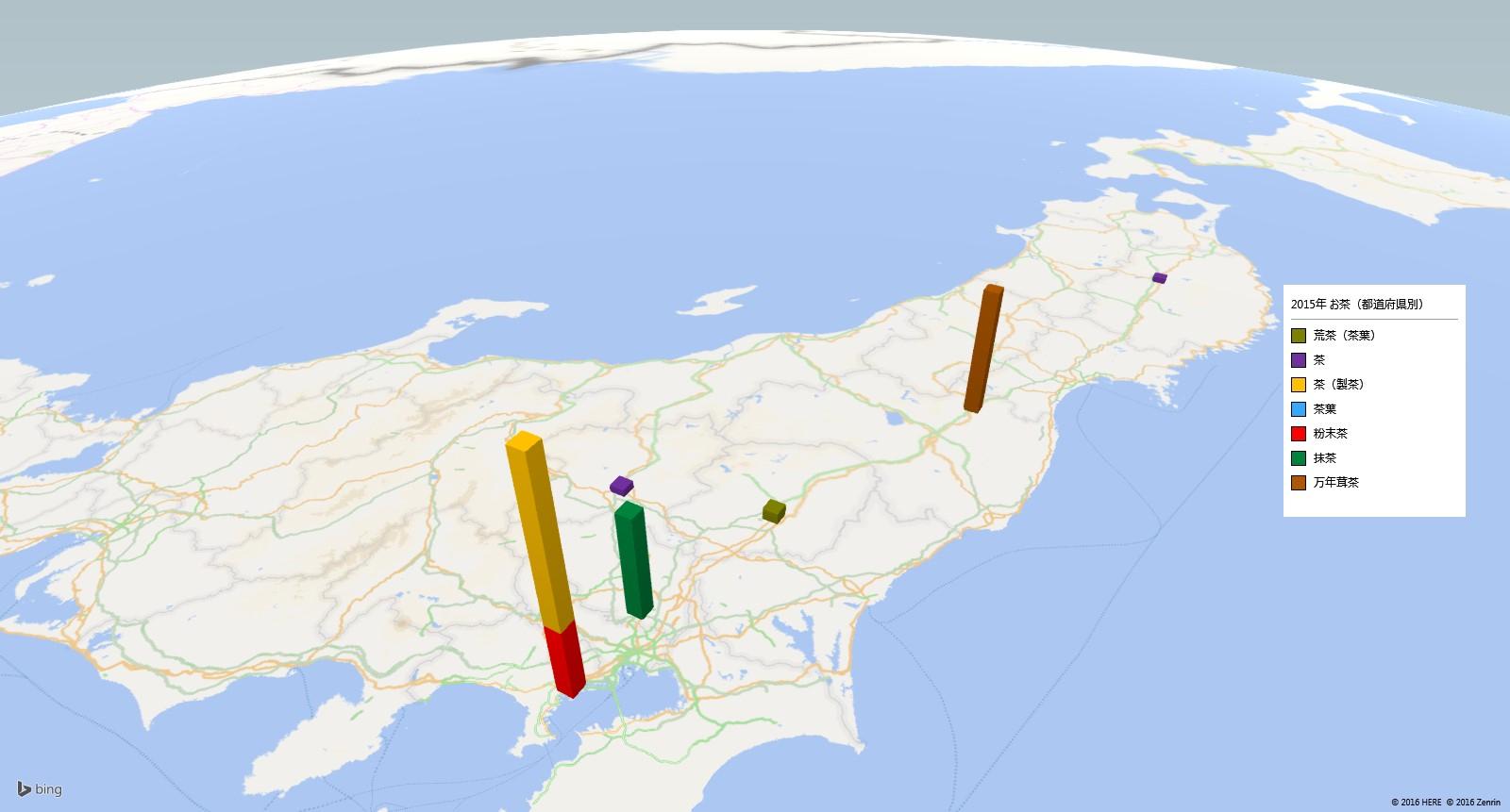 お茶類の放射能検査地図(都道府県別)