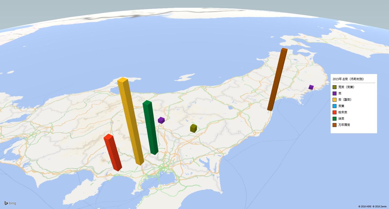 お茶類の放射能検査地図(市町村別)