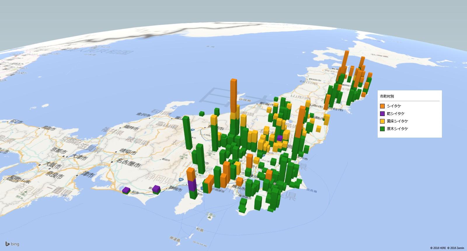 シイタケの放射能検査地図(市町村別)